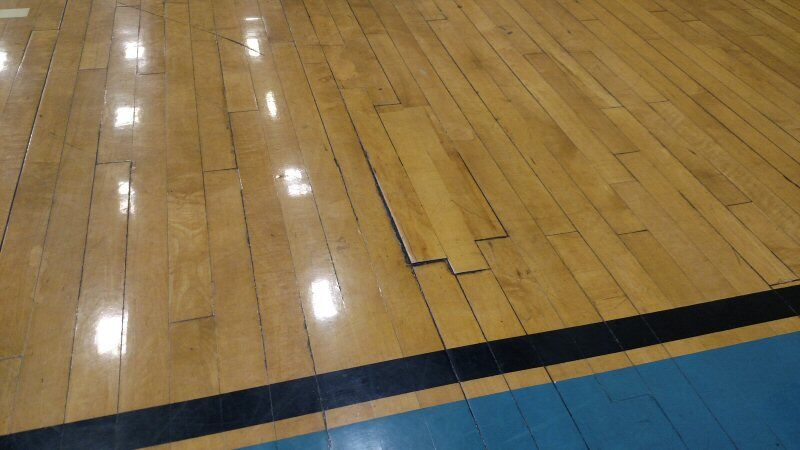 Damaged Hardwood Floor at Jewish Community Center
