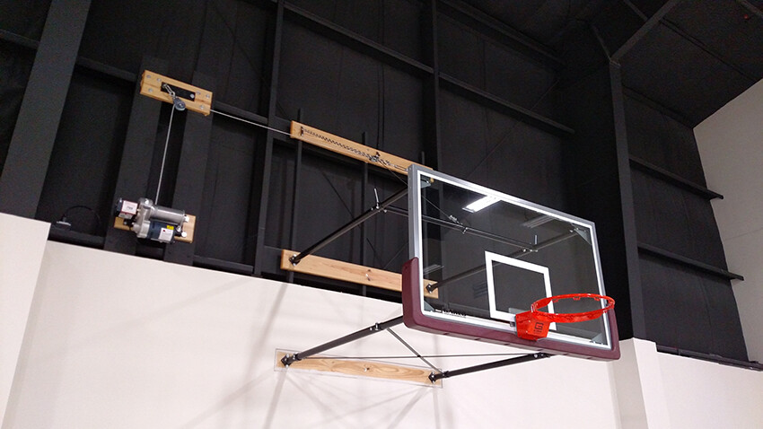 Gym Equipment Wall Mount Electric Fold Up Basketball Goal