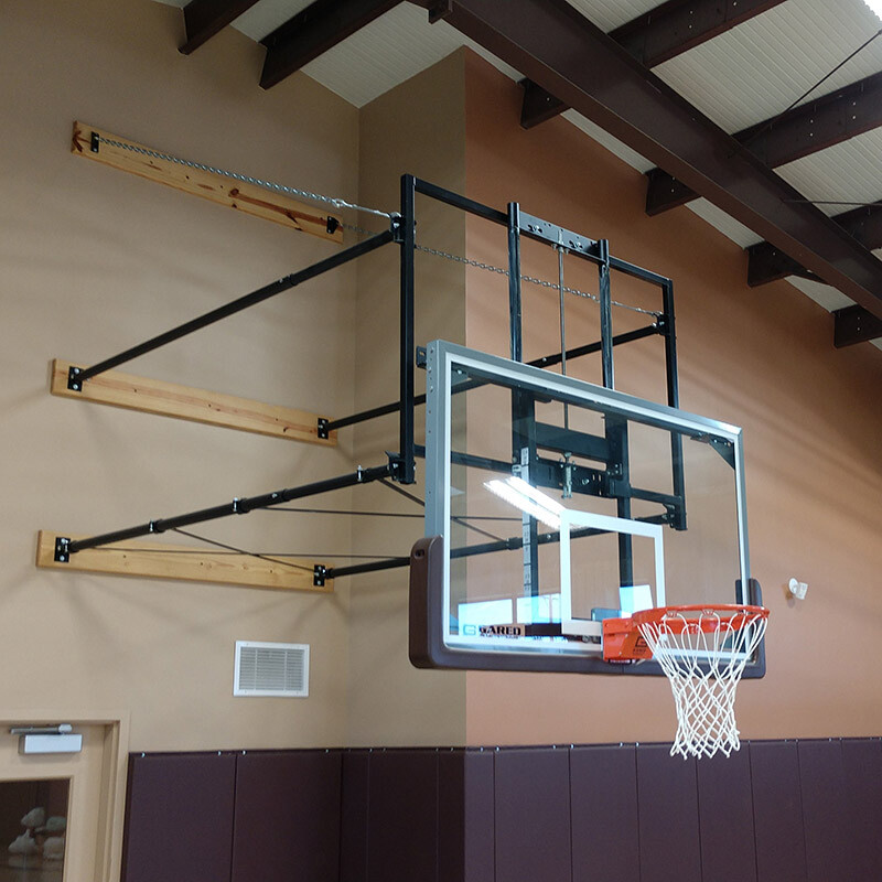 Wall Mount Basketball Goal with Height Adjuster