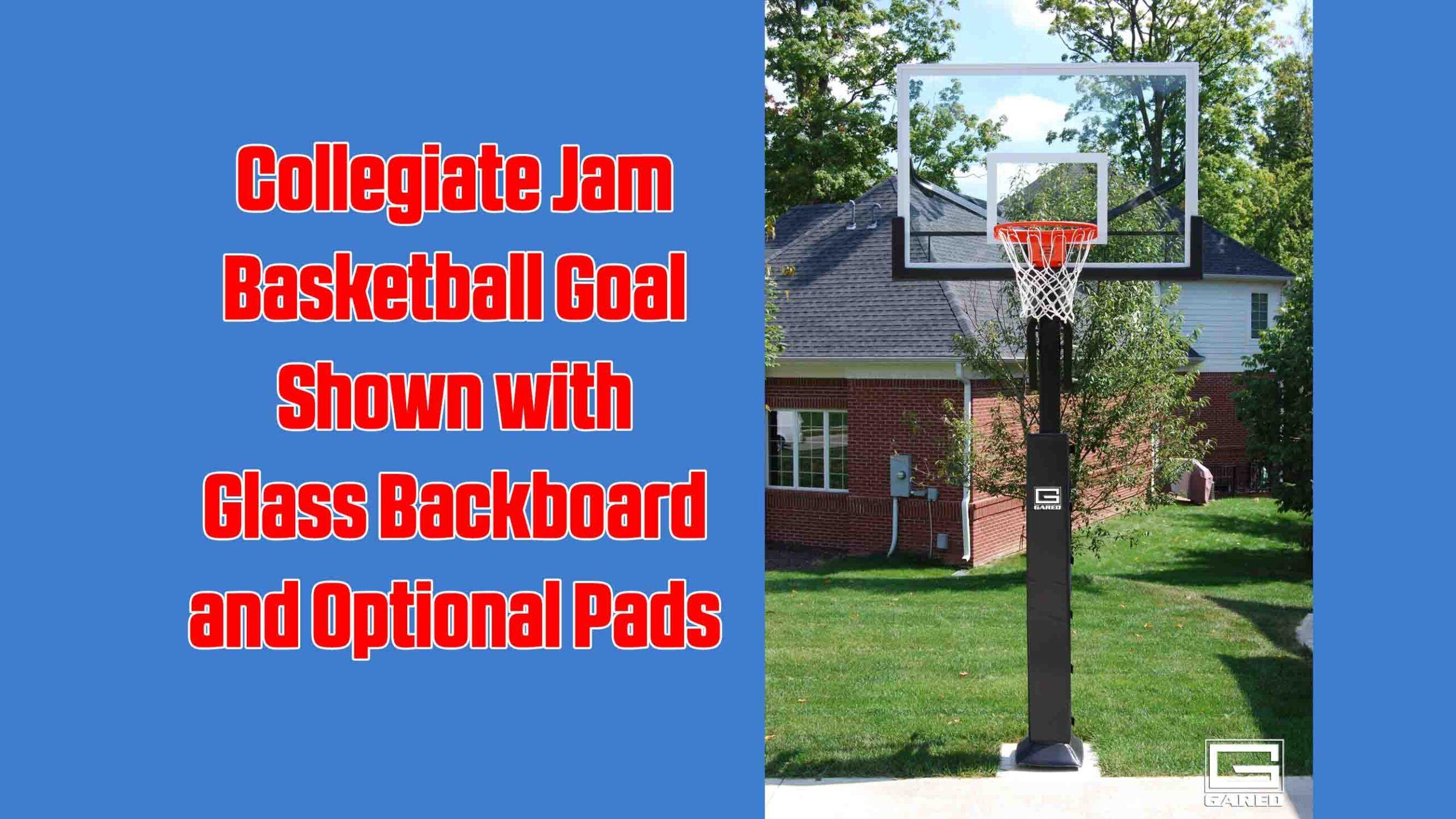 Collegiate Jam Basketball Goal with Glass Backboard