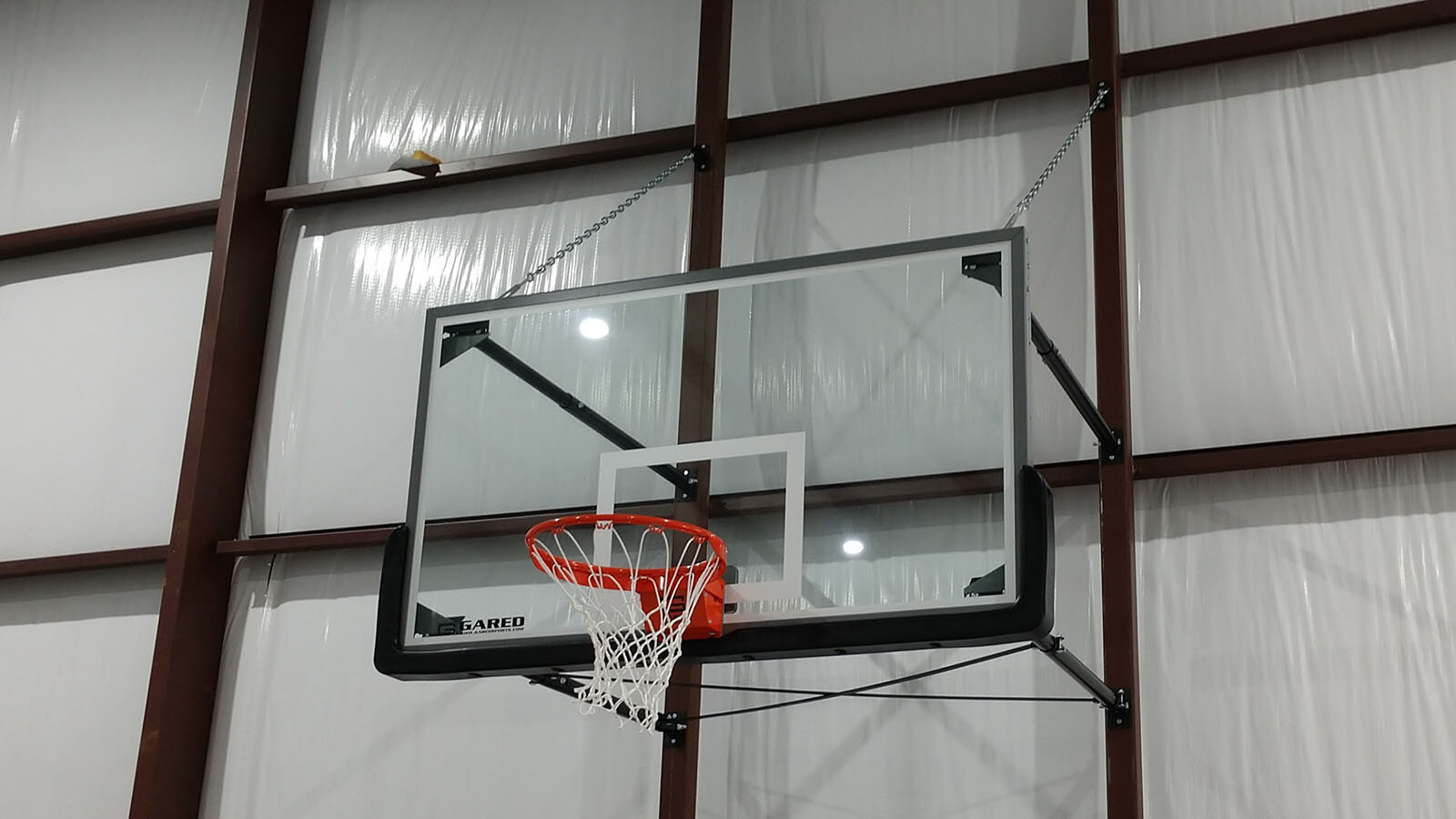 Gared Sports Wall Mount Stationary Glass Backboard with Steel Frame