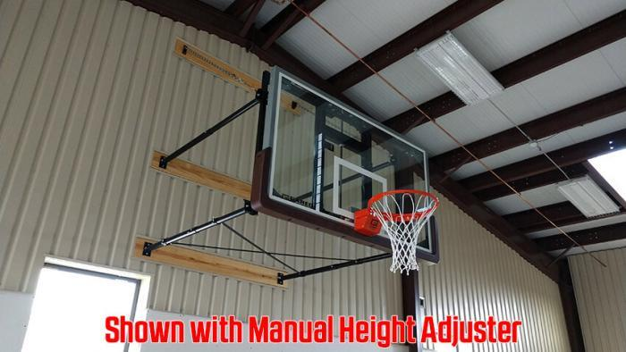 Stationary Wall Mount Basketball Goal Steel Frame with Height Adjuster