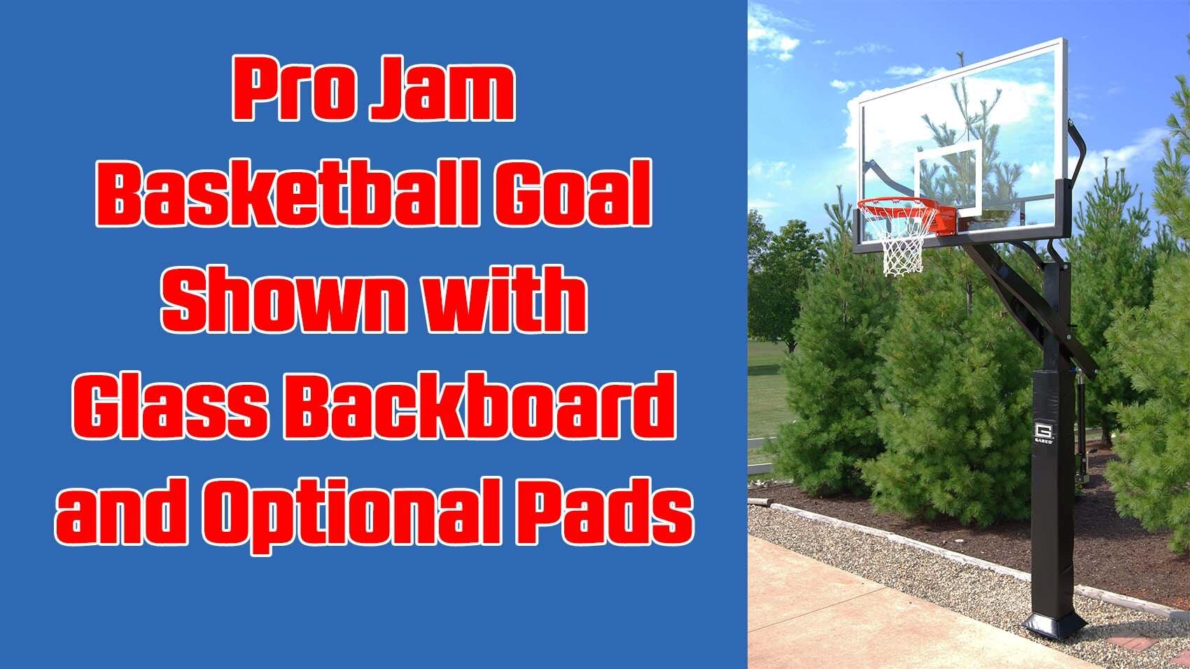 Collegiate Pro Jam Basketball System with Glass Backboard