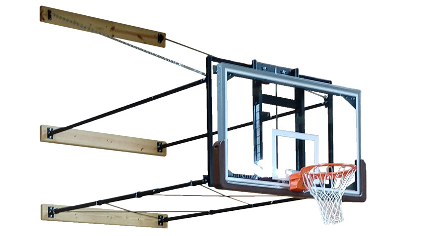 Gared Sports 2300 Stationary Wall Mount Basketball Goal with Height Adjuster