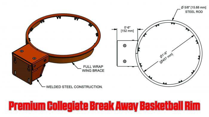 Premium Collegiate Basketball Rim Gared Sports 2000+ Specs Dimensions