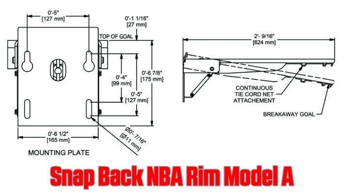 Snap Back NBA Basketball Rim Specs Model A Dimensions