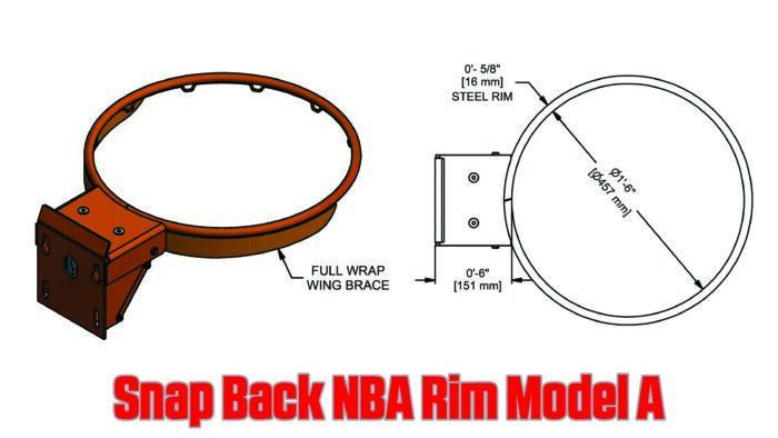 Snap Back NBA Basketball Rim Specs Model A
