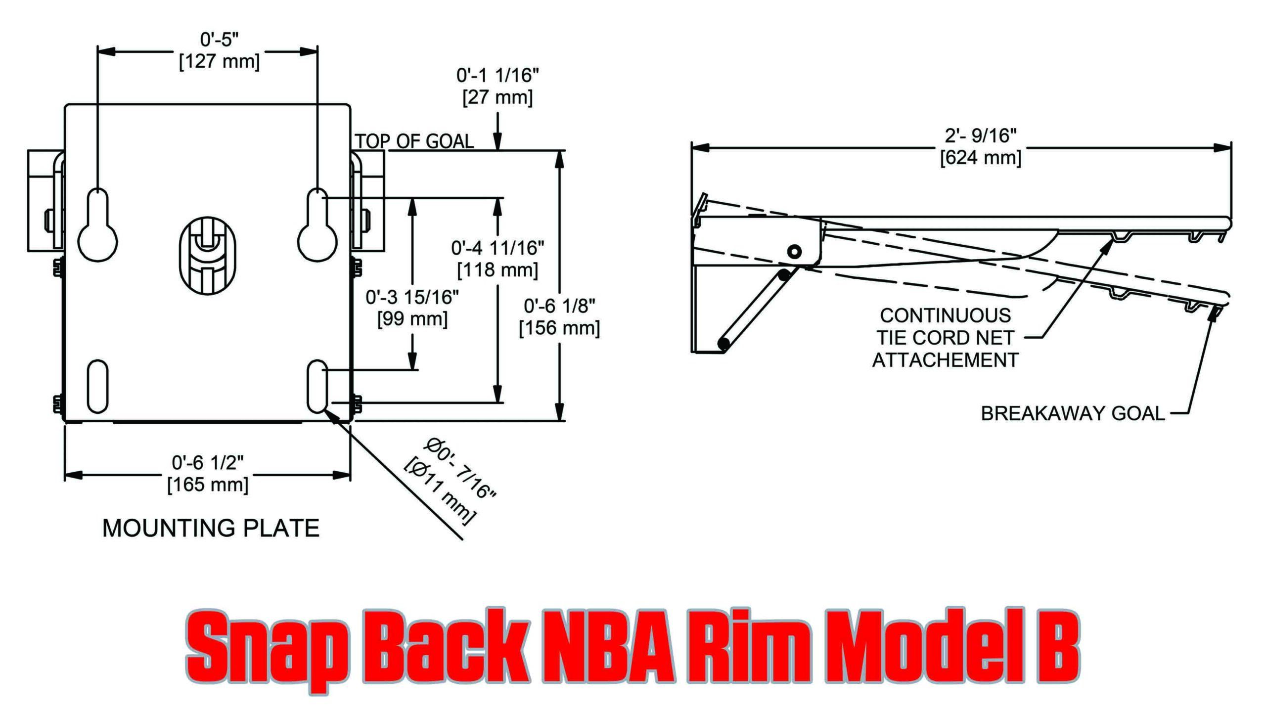 Snap Back NBA Basketball Rim Specs Model B