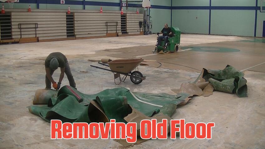 Ben Garza Gymnasium Removing Old Flooring