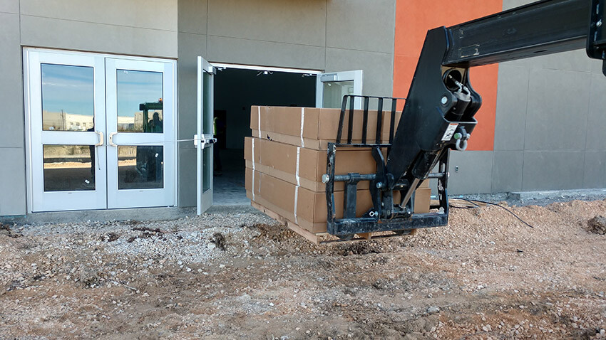 School of Science and Technology Alamo Wall Pads Moving into Gym