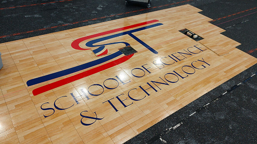 School of Science and Technology Alamo Center Court Logo