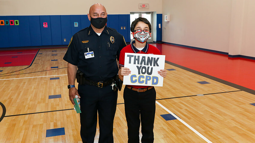 School of Science and Technology Bayshore Student with CCPD Officer