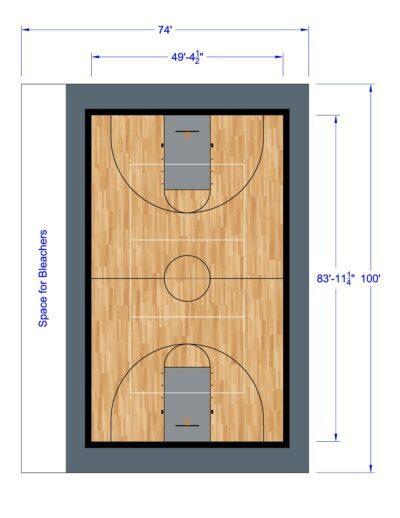 South Texas Sport Court Gym Design 74x100