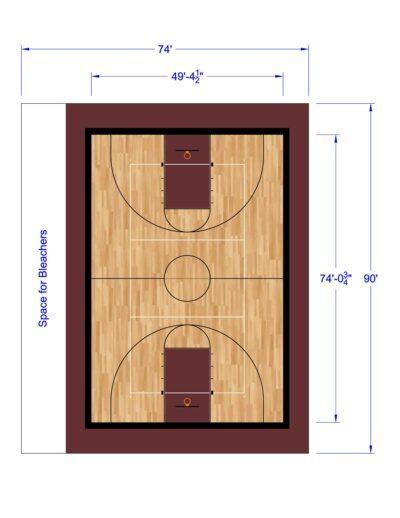 South Texas Sport Court Gym Design 74x90
