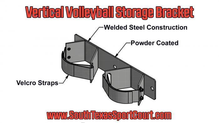 Vertical Volleyball Storage Bracket Illustration