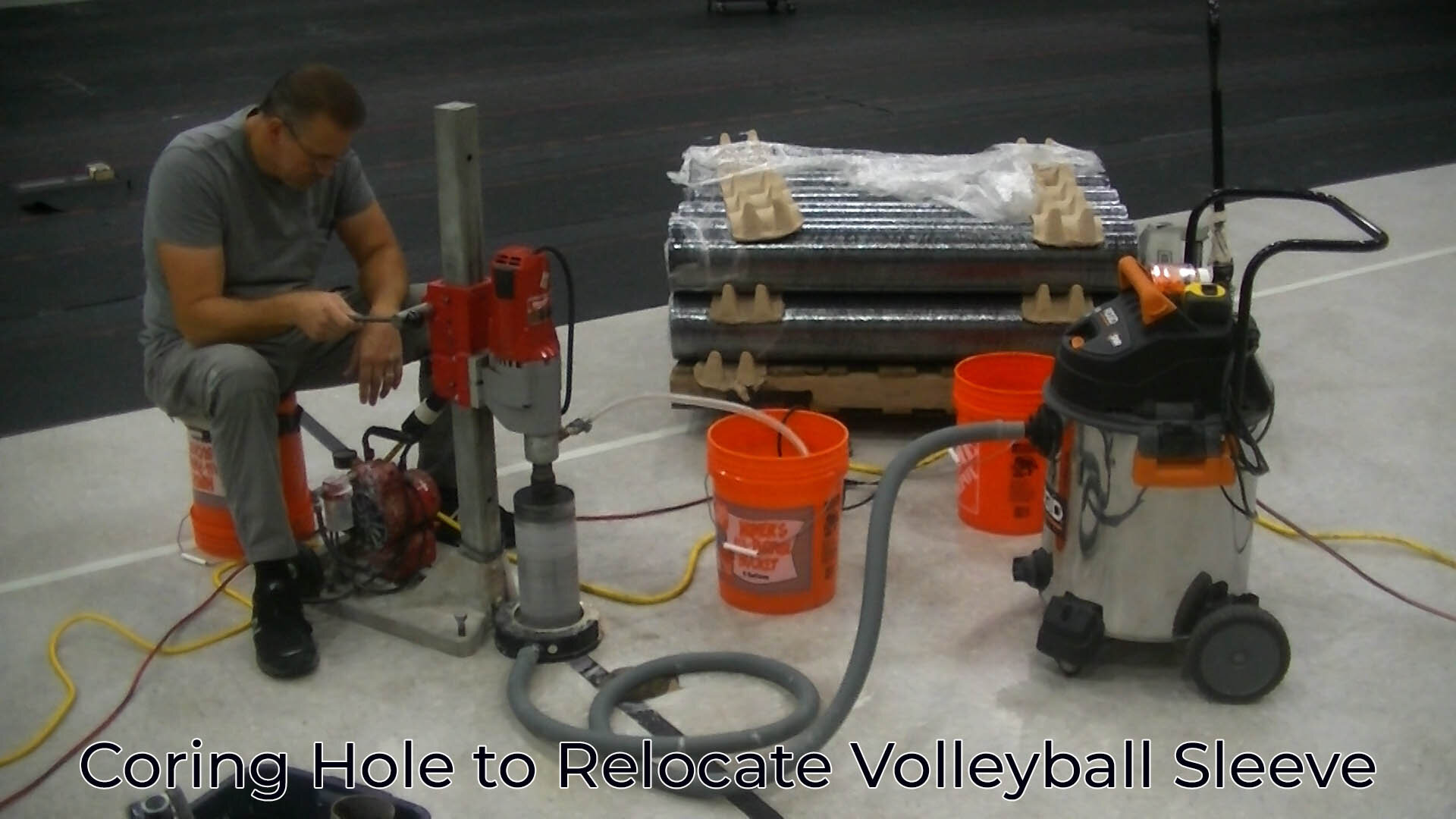 Coring Concrete to Relocate Volleyball Sleeve